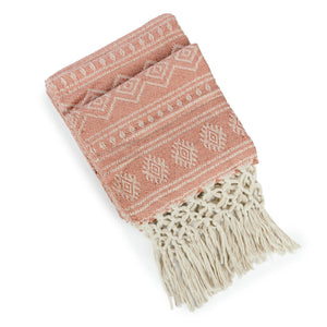 Recycled Throw with Hand Knotted Fringe - Rose