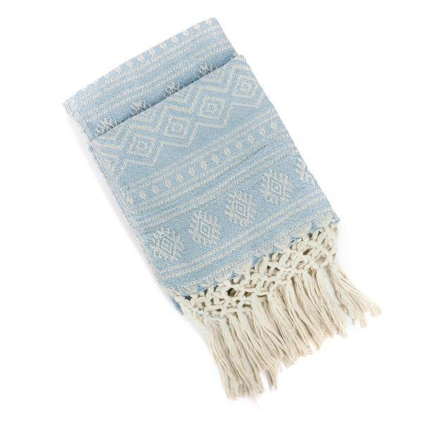Recycled Throw with hand knotted fringe - Blue