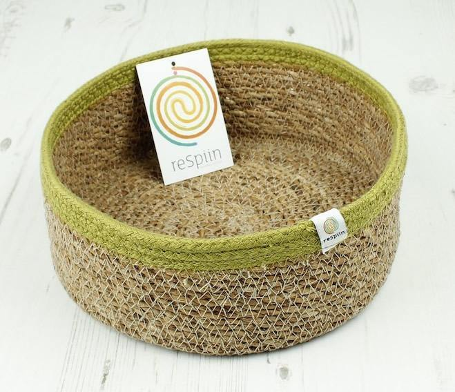 Shallow Seagrass & Jute Basket Natural/Green - reSpiin