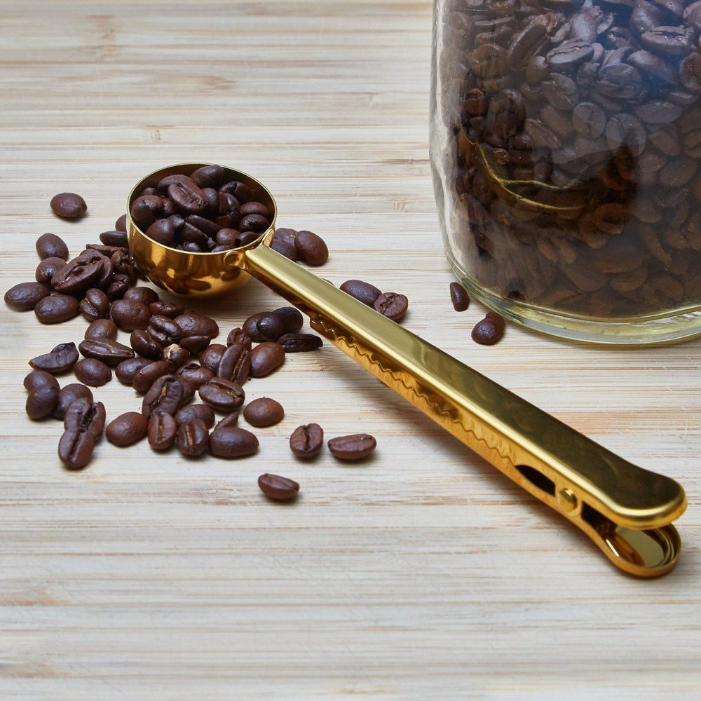 Gold Coffee Scoop & Clip - Green Island