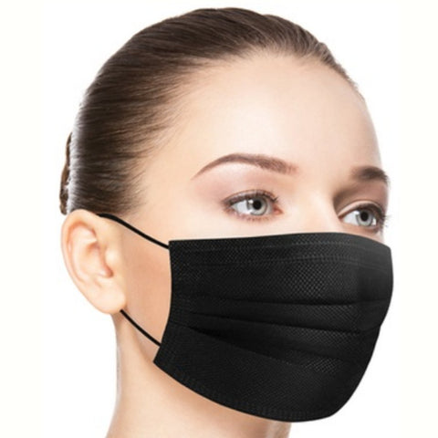 3-PLY Disposable Black Face Masks | 10 Pack