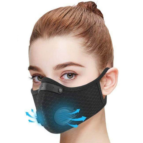 Cycling Mask, Black Cycling Mask, Valved Mask, Carbon Valved Mask