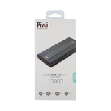 Pivoi 10000mAh PD LCD Power Bank Charger With Smart 3A High Speed Dual USB Ports