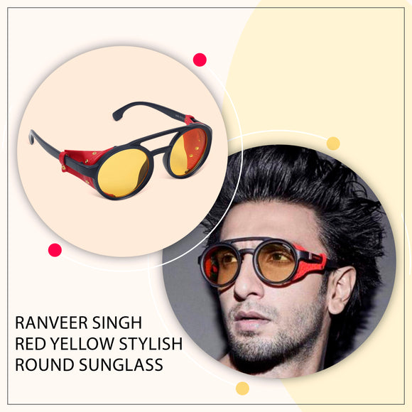 Ranveer Singh Red Yellow Stylish round  sunglass