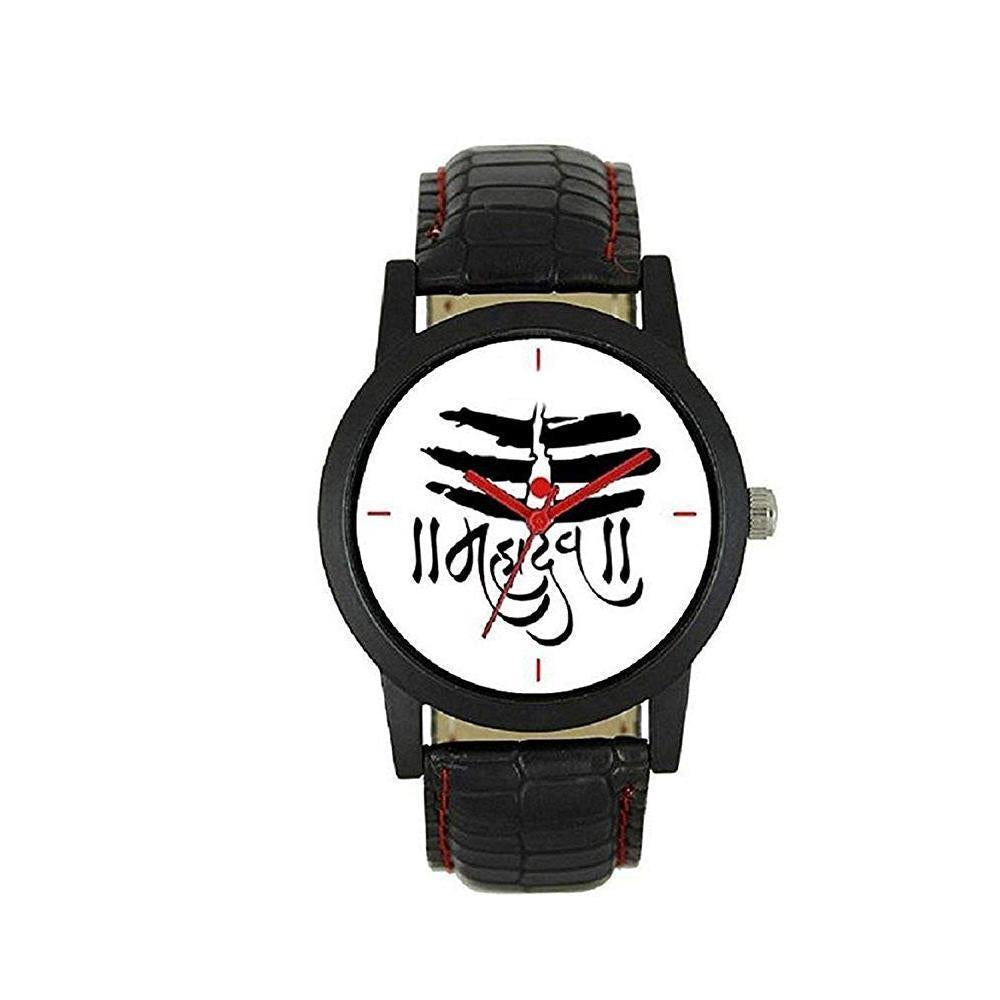 1809 Unique & Premium Analogue Watch MAHADEV Print Multicolour Dial Leather Strap (Watch 9)