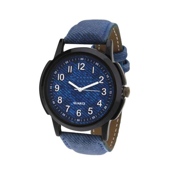 1801 Unique & Premium Analogue Watch Denim Blue Print Dial Leather Strap (Watch1)