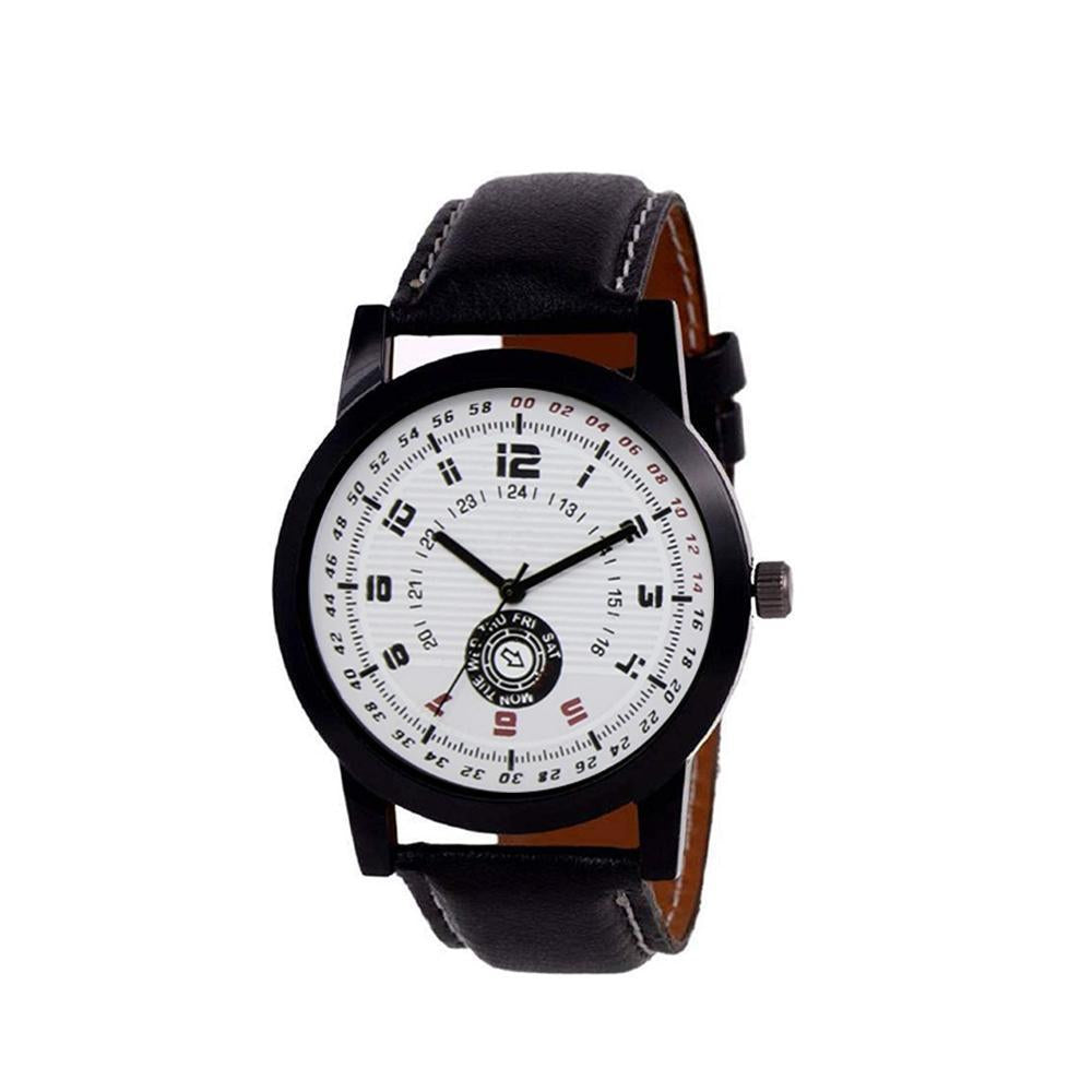 1808 Unique & Premium Analogue Watch White Print Multi colour Dial Leather Strap (Watch 8)