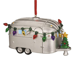 6)  Light Up Resin Vintage Bambi Airstream w/ Christmas Trees Christmas Ornament