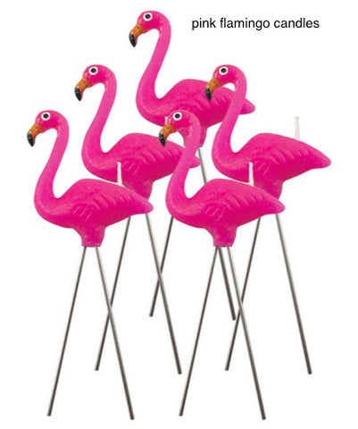 "pink flamingo candles (5) 4"" tall with steel legs"