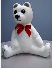 "3) White Christmas Bear with Bow  18"" tall  Classic 50's Plastic Lawn Art . It lights up."