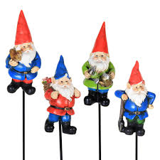 6) Miniature Gnome Colorful Pot Stakes