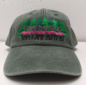 6)    Annual infamous Austin plastic pink flamingos Christmas Tree Caps