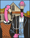 DRIFTWOOD  Official Fine Art FlamingosT-Shirt  2020-'American Gothic' Grant Wood 1930- for walk in purchase at our DRIFTWOOD Flash Garden