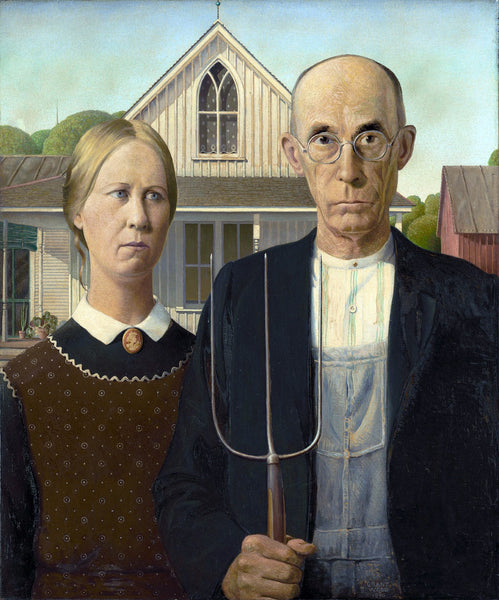 LAKEWAY  Official Fine Art FlamingosT-Shirt  2020-'American Gothic' Grant Wood 1930- for walk in purchase at our LAKEWAY Flash Garden