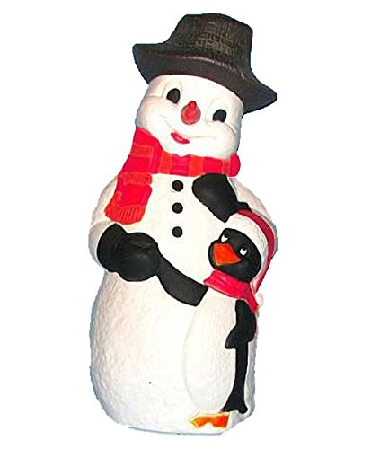 "3) Plastic Snowman with Penguin  - Lights Up - Classic 50's Yard ""Art"""