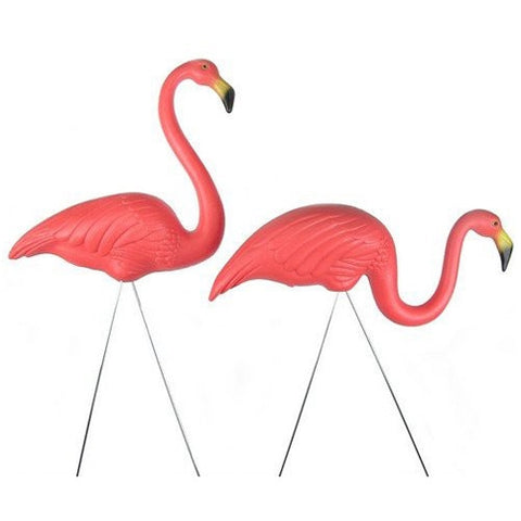 DRIFTWOOD Official infamous Austin plastic pink flamingos - a matched pair - for walk in purchase at our DRIFTWOOD  Flash Garden