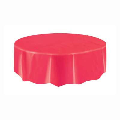 RED SOLID ROUND PLASTIC TABLE COVER
