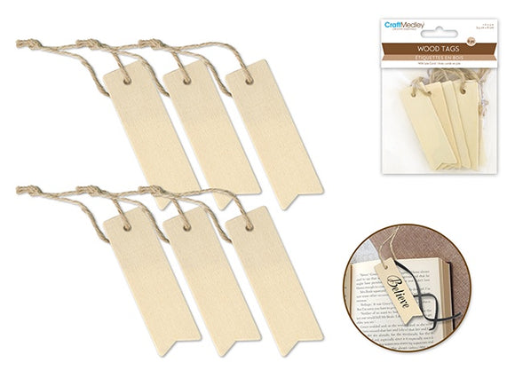 WOODEN TAGS WITH JUTE CORD
