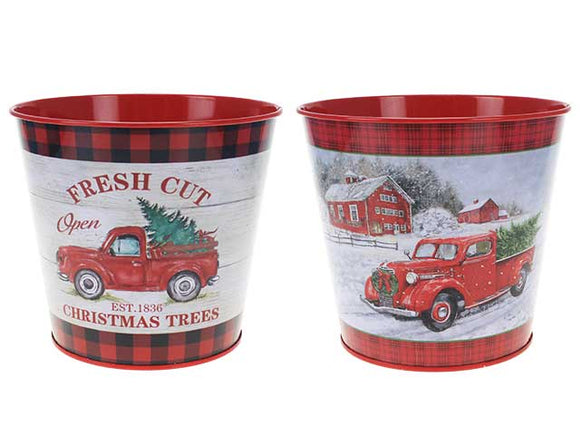 XMAS VINTAGE CAR METAL BUCKET ASSORTED
