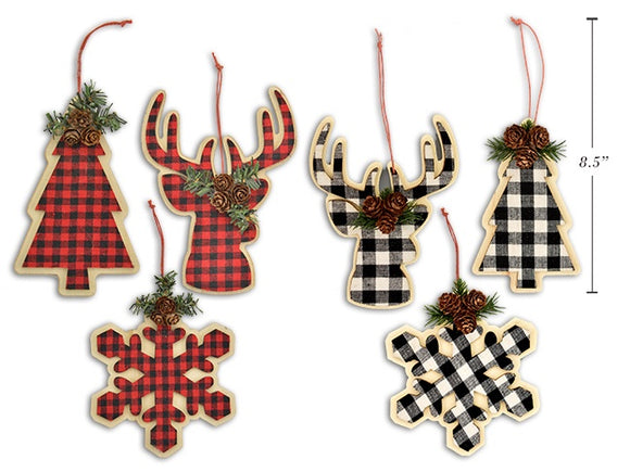 XMAS WOODEN 3D DIE CUT BUFFALO PLAID ORAMENT WITH PINE CONE