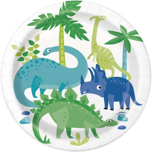 BLUE AND GREEN DINOSAUR DESSERT PLATES
