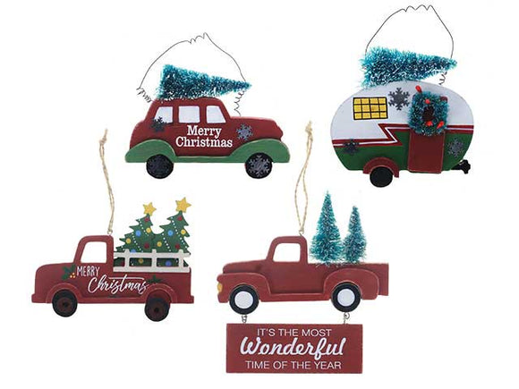 XMAS MDF VINTAGE CAR WITH XMAS TREE ORNAMENT