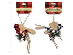 XMAS CANVAS BUFFALO PLAID BIRD ORNAMENT