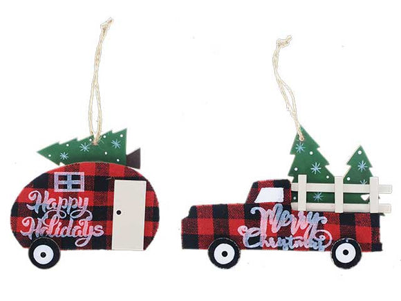 BUFFALO PLAID MDF VINTAGE CAR WITH XMAS TREE ORNAMENT