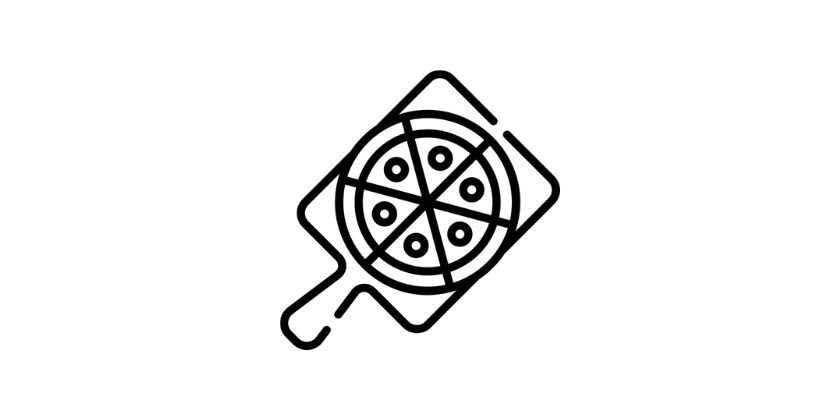 black and white logo pizza on chopping board