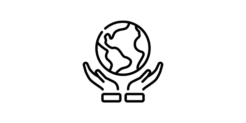 hands holding the world logo