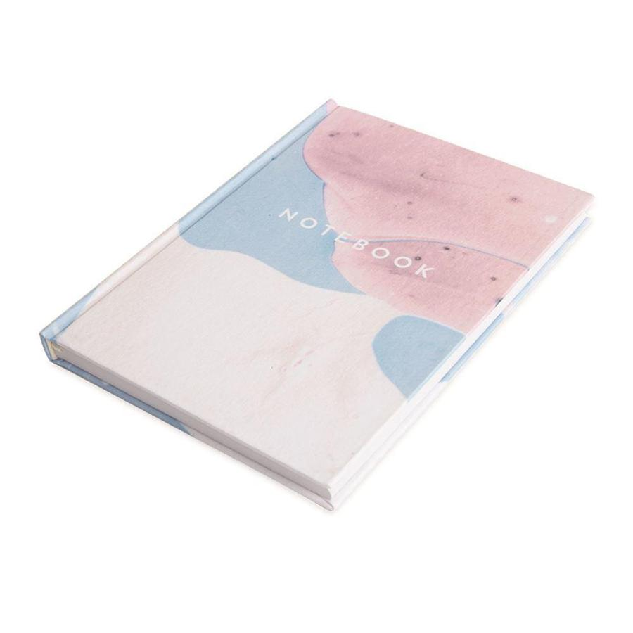 PINK, BLUE AND WHITE MARBLE LINED NOTEBOOK
