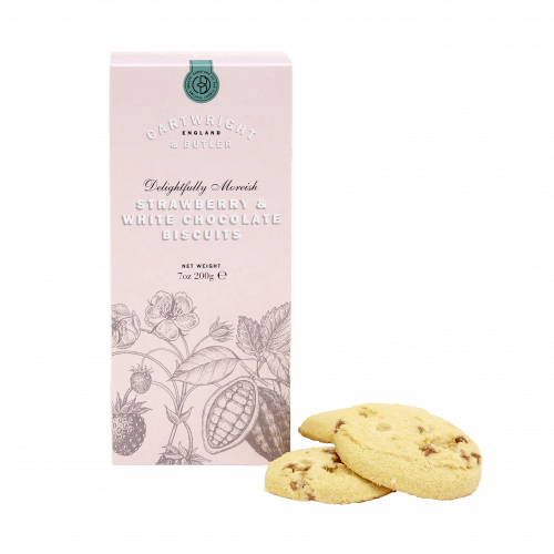 STRAWBERRY & WHITE CHOCOLATE BISCUITS BY CARTWRIGHT & BUTLER
