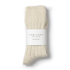 TOM LANE CREAM ALPACA BED SOCKS