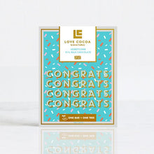Load image into Gallery viewer, LOVE COCOA 'CONGRATS' HONEYCOMB MILK CHOCOLATE BAR