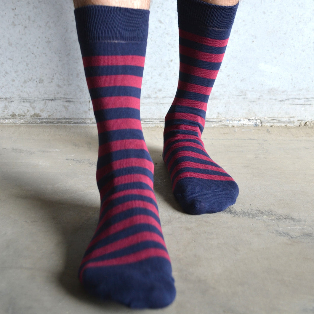 TOM LANE NAVY AND BURGUNDY COTTON SOCKS