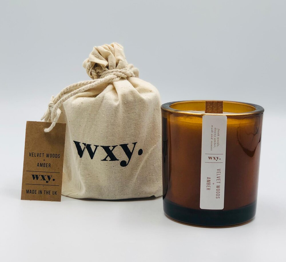 WXY AMBER VELVET WOODS AND AMBER CANDLE