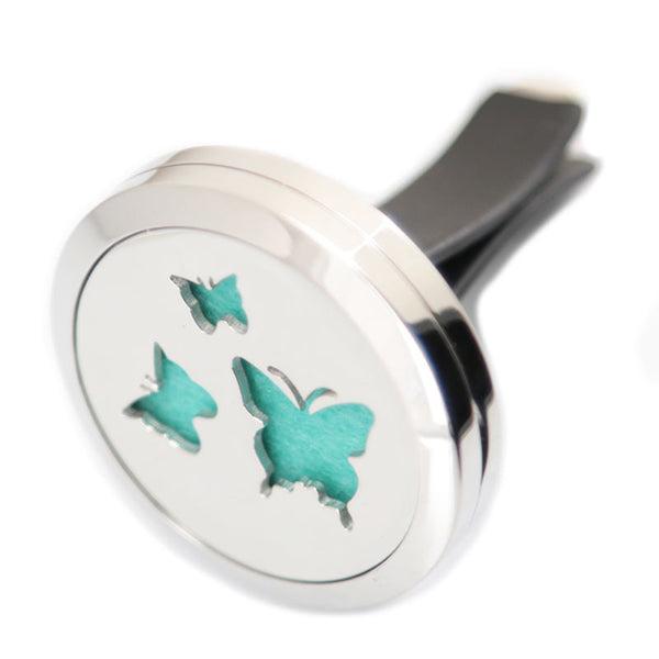 car diffuser-three butterflies stainless steel locket