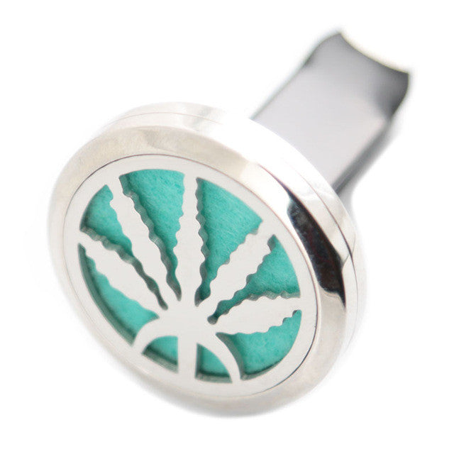 Car diffuser - cannabis leaf - stainless steel locket