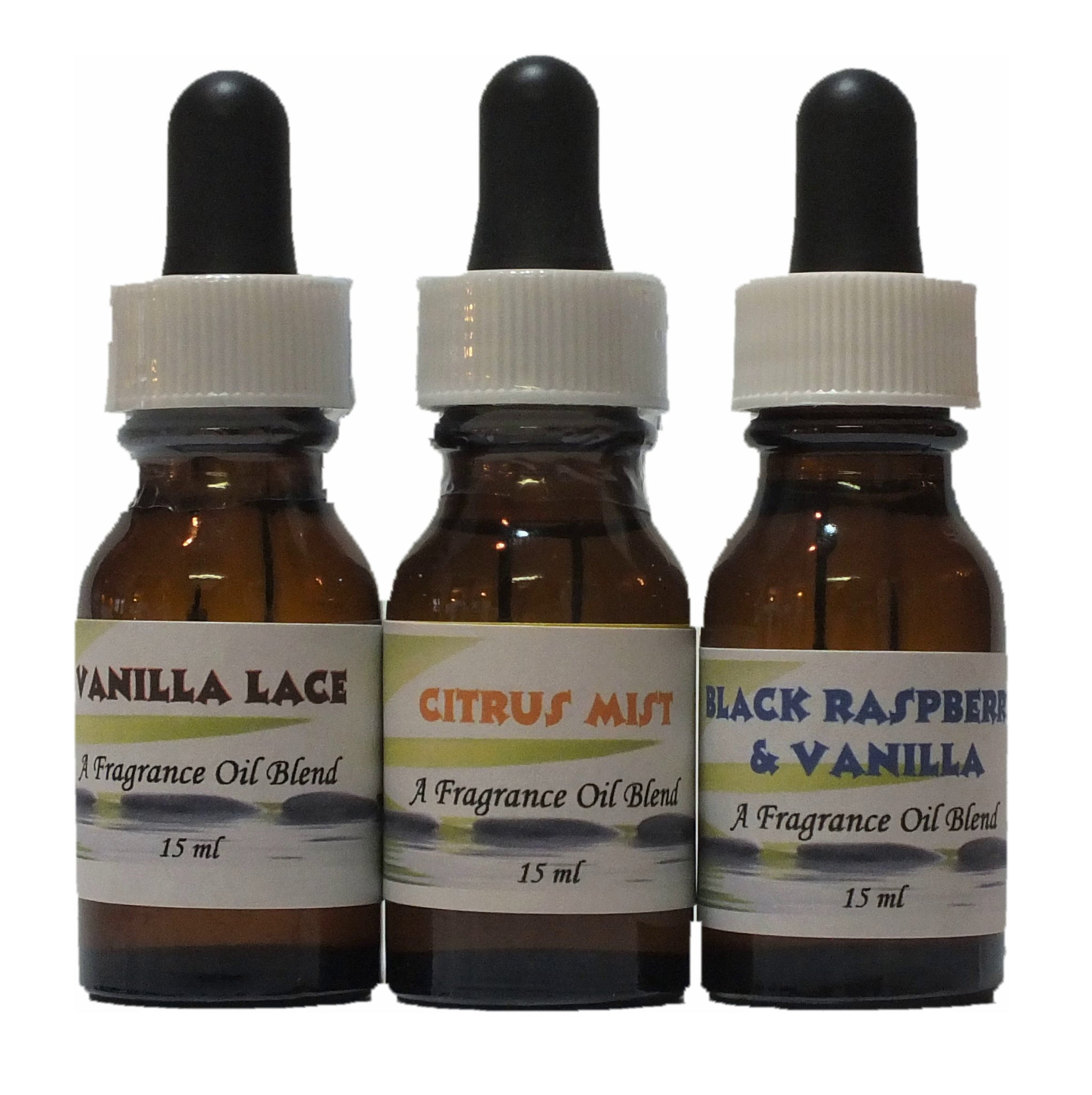 Fragrance Oil - 3 Bottles - Vanilla Lace - Citrus Mist - Black Raspberry & Vanilla - 15 ml each