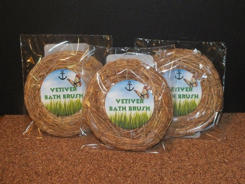 Vetiver Bath Brush in bags.