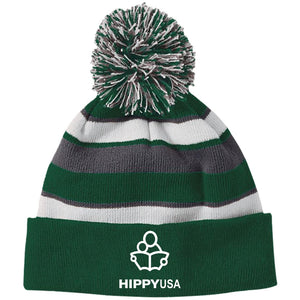 HIPPY USA  Embroidered  Striped Beanie with Pom