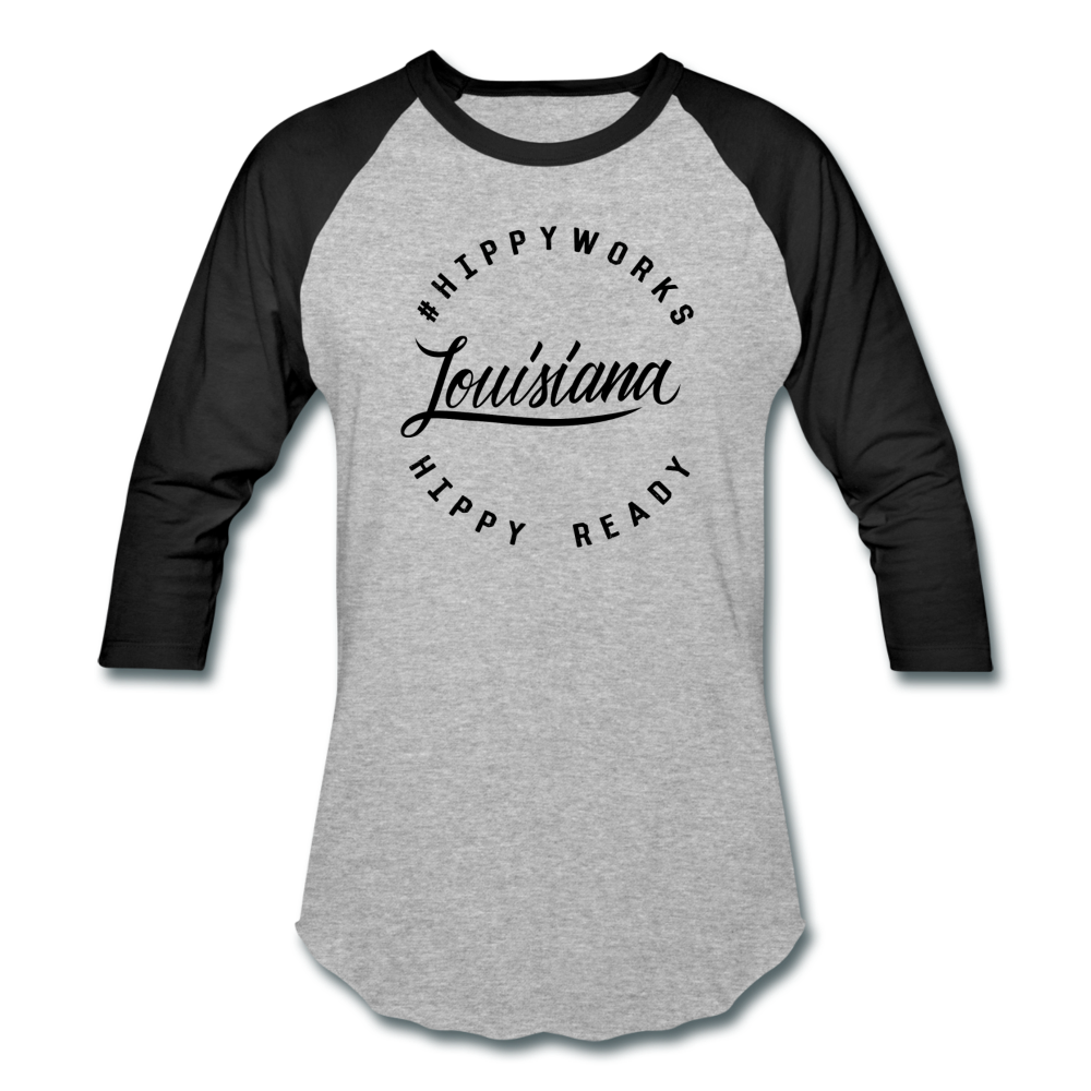 #HIPPYWORKS-Louisana Unisex Raglan Tee-Shirt - heather gray/black