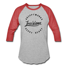 Load image into Gallery viewer, #HIPPYWORKS-Louisana Unisex Raglan Tee-Shirt - heather gray/red