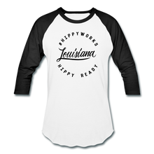 Load image into Gallery viewer, #HIPPYWORKS-Louisana Unisex Raglan Tee-Shirt - white/black