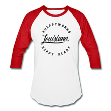 Load image into Gallery viewer, #HIPPYWORKS-Louisana Unisex Raglan Tee-Shirt - white/red