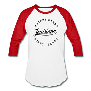 #HIPPYWORKS-Louisana Unisex Raglan Tee-Shirt - white/red