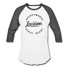 Load image into Gallery viewer, #HIPPYWORKS-Louisana Unisex Raglan Tee-Shirt - white/charcoal
