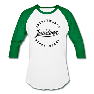 #HIPPYWORKS-Louisana Unisex Raglan Tee-Shirt - white/kelly green