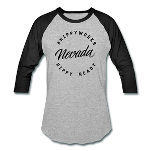 HIPPYWORKS- Nevada Unisex Raglan Tee-Shirt - heather gray/black