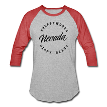 Load image into Gallery viewer, HIPPYWORKS- Nevada Unisex Raglan Tee-Shirt - heather gray/red